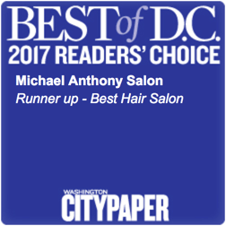 "Michael Anthony Salon Best Hair Salon 2017 Runner Up"" width="